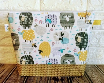 Patterned Sheep Knitting Bag / Medium - Shawl size