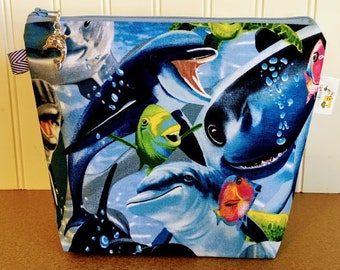 Sea Creatures Knitting Project Bag - Small / Sock Size
