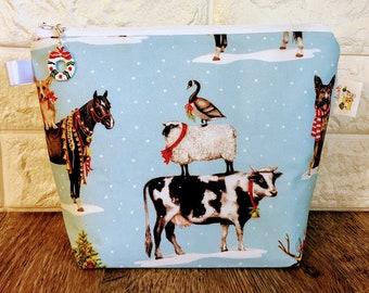 Animal Christmas Project Bag - Small / Sock Size