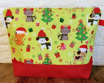 Christmas Cats and Dogs Knitting Project Bag - Medium / Shawl Size