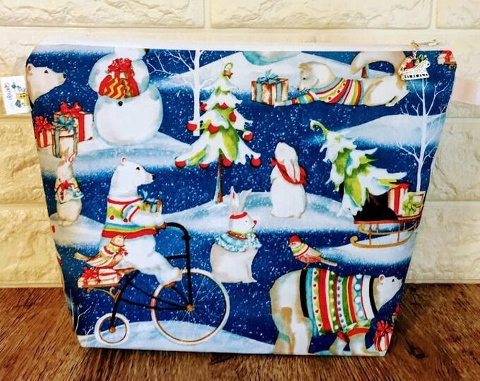 Featured listing image: Polar Bear Christmas Knitting Project Bag - Medium / Shawl Size
