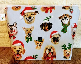 Christmas Puppies Knitting Project Bag - Medium / Shawl Size
