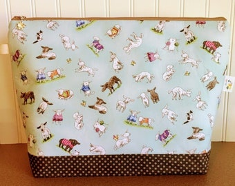 Sheep and Cats Knitting Project Bag - Large Sweater Size
