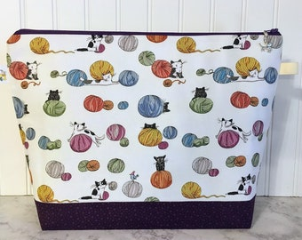 Large Cats chasing Yarn Knitting Project Bag