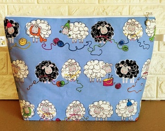 Sheep Knitting Zippered Project Bag