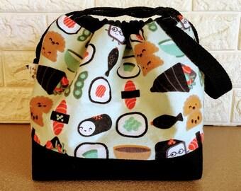 Happy Sushi Drawstring Knitting Bag