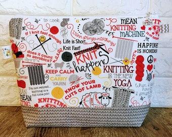 Knitting Quotes Project Bag - Medium / Shawl Size