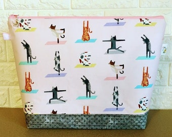 Yoga Cats Knitting Project Bag / Large - Sweater Size