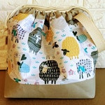 Knitting Project Bag Drawstring, Knitting Project Bag, Project Bag, Sheep Knitting Bag, Knitting Tote, Yarn Tote, Knitting Bowl, Yarn Bowl