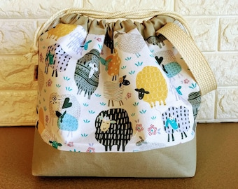 Sheep Knitting Project Bag - Drawstring Large / Sweater Size
