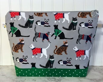 Large Cats in Sweaters Knitting Project Bag