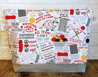 Knitting Quotes Knitting Project Bag - Large / Sweater Size