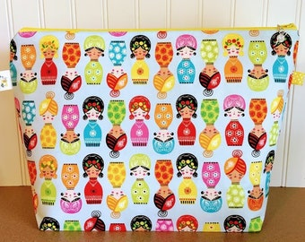 Colorful Dolls Knitting Project Bag - Large / Sweater Size