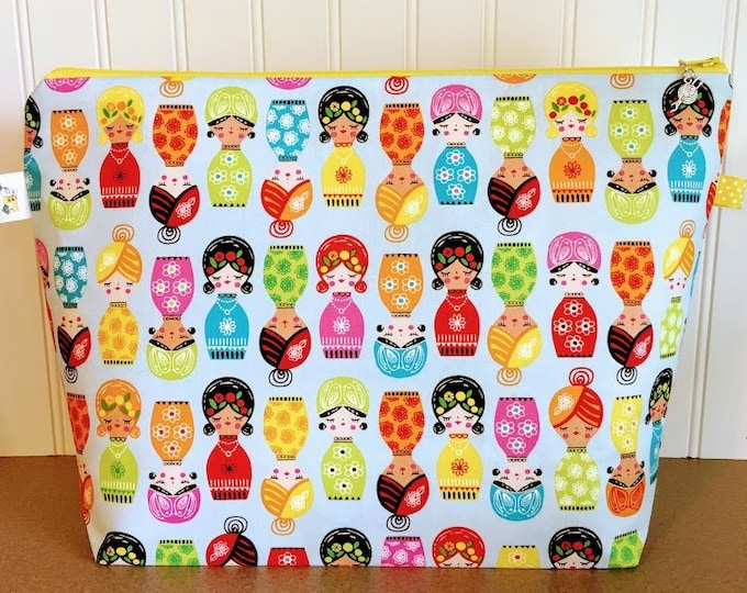 Featured listing image: Colorful Dolls Knitting Project Bag - Large / Sweater Size