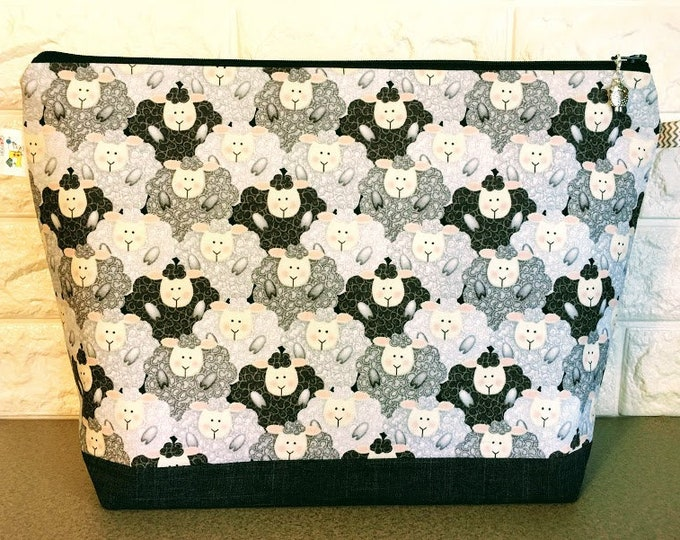 Featured listing image: Sheep Knitting Project Bag - Large / Sweater Size