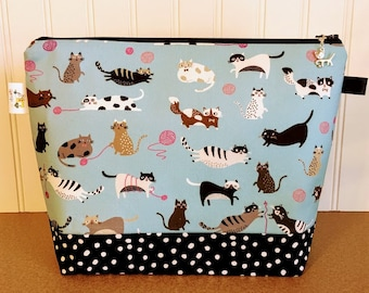 Cat Knitting Project Bag