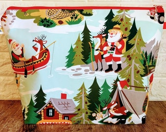 Santa's Camping Vacation Knitting Project Bag - Large / Sweater Size