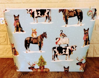 Large Christmas Knitting Project Bag decorated with Holiday Animals