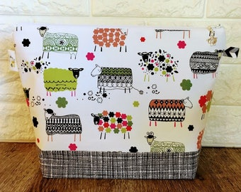 Medium Size Patterned Sheep Knitting Bag with Zipper