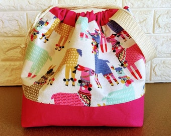 Colorful Llama Large Drawstring Knitting Bag