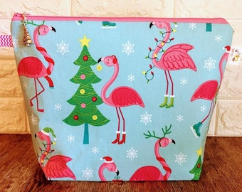 Flamingo Christmas Knitting Project Bag - Medium / Shawl Size