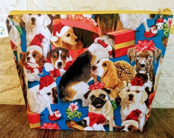 Dog Christmas Knitting Project Bag - Medium / Shawl Size
