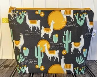 Llama and Cactus Knitting Project Bag - Medium / Shawl Size