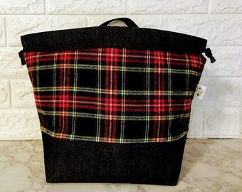 Red Plaid Large Drawstring Bag