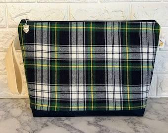 Large Plaid  Knitting Project Bag