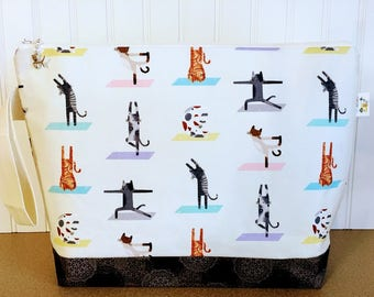Large Size Knitting Project Bag with Yoga Cats