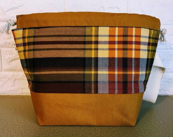 Featured listing image: Plaid Large Drawstring Knitting Bag
