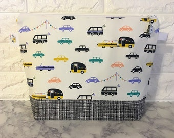 Cars and Campers Knitting Project Bag - Medium / Shawl Size