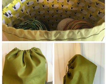 Olive Green Large Drawstring Canvas Project Bag