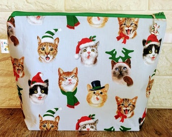 Medium Size Christmas Knitting Bag with Zipper