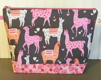 Valentines Llamas Large Knitting Bag