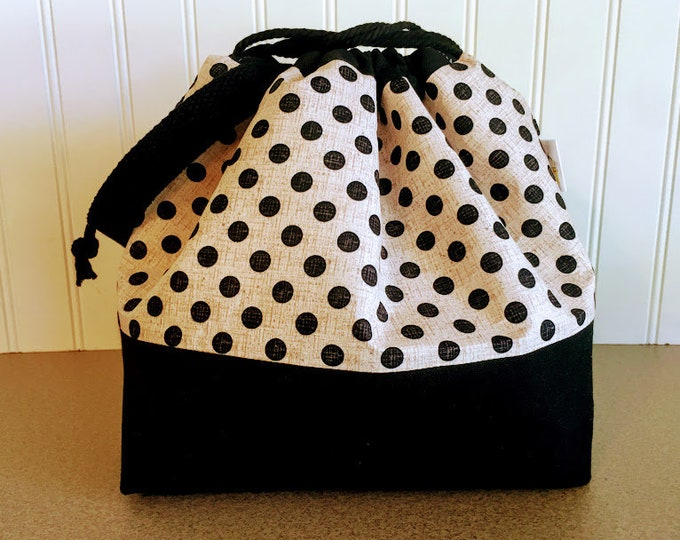 Featured listing image: Black dotted Drawstring Knitting bag with sheep print lining.