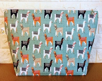 Knitting Bag with Llamas / Large