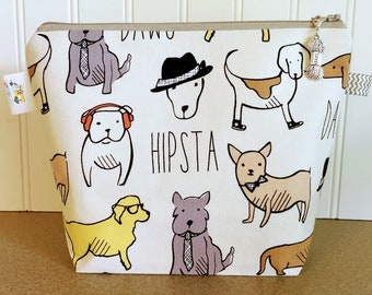 Hipsta Dawgs Knitting Project Bag - Small Sock Size