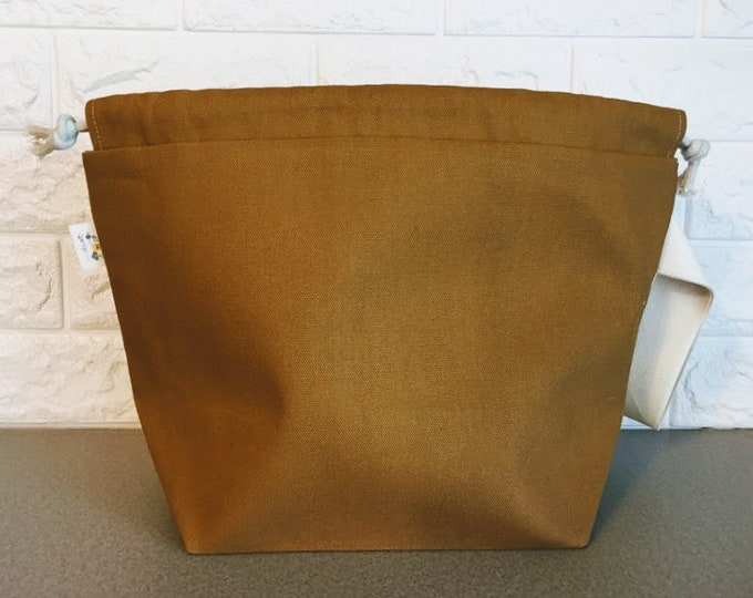 Featured listing image: Canvas Knitting Project Bag with Drawstring / Large - sweater size