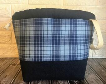 Blue plaid Large Drawstring Knitting Bag with llama lining