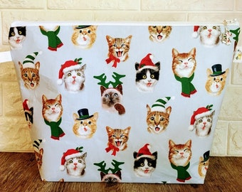Christmas Cat Knitting Project Bag - Large / Sweater Size