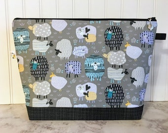 Patterned Sheep Knitting Project Bag - Large / Sweater Size