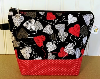 Sock size Valentines Knitting bag