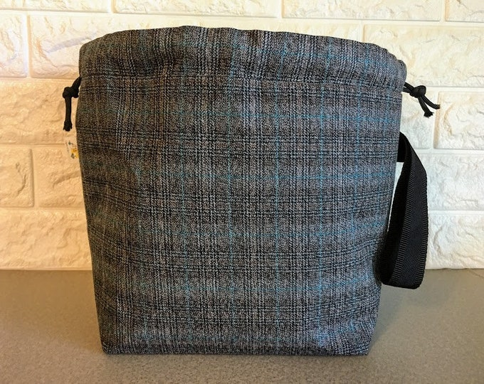 Featured listing image: Black and Teal Plaid Large Knitting Project Bag
