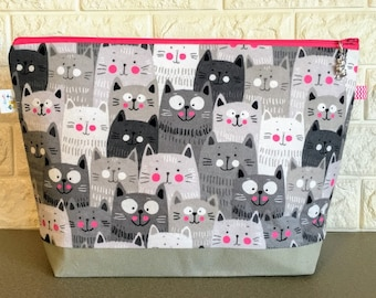 Large Size Knitting Project Bag with Cats