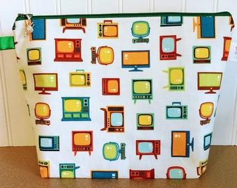 Retro Knitting Project Bag - Medium / Shawl Size