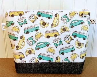 Retro Vans and Cars Knitting Project Bag - Medium / Shawl Size