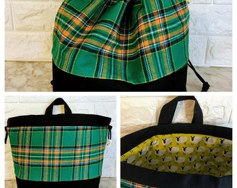 Green Plaid Project Bag / Large - Sweater Size
