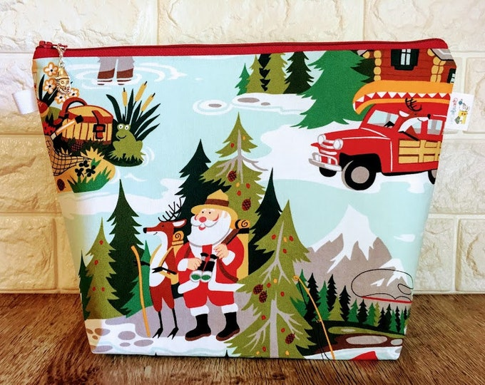 Featured listing image: Santa Camping Christmas Knitting Project Bag - Medium / Shawl Size