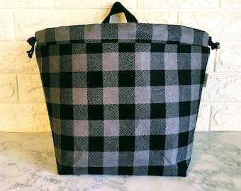 Gray and Black Buffalo Plaid Drawstring Project Bag